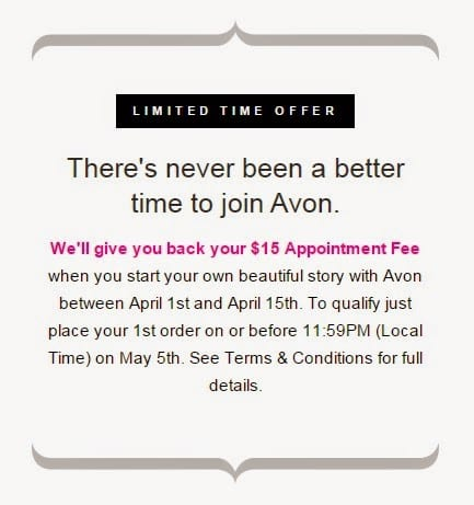 Avon Limited Time Offer to join the company and get reimbursed the appointment fee