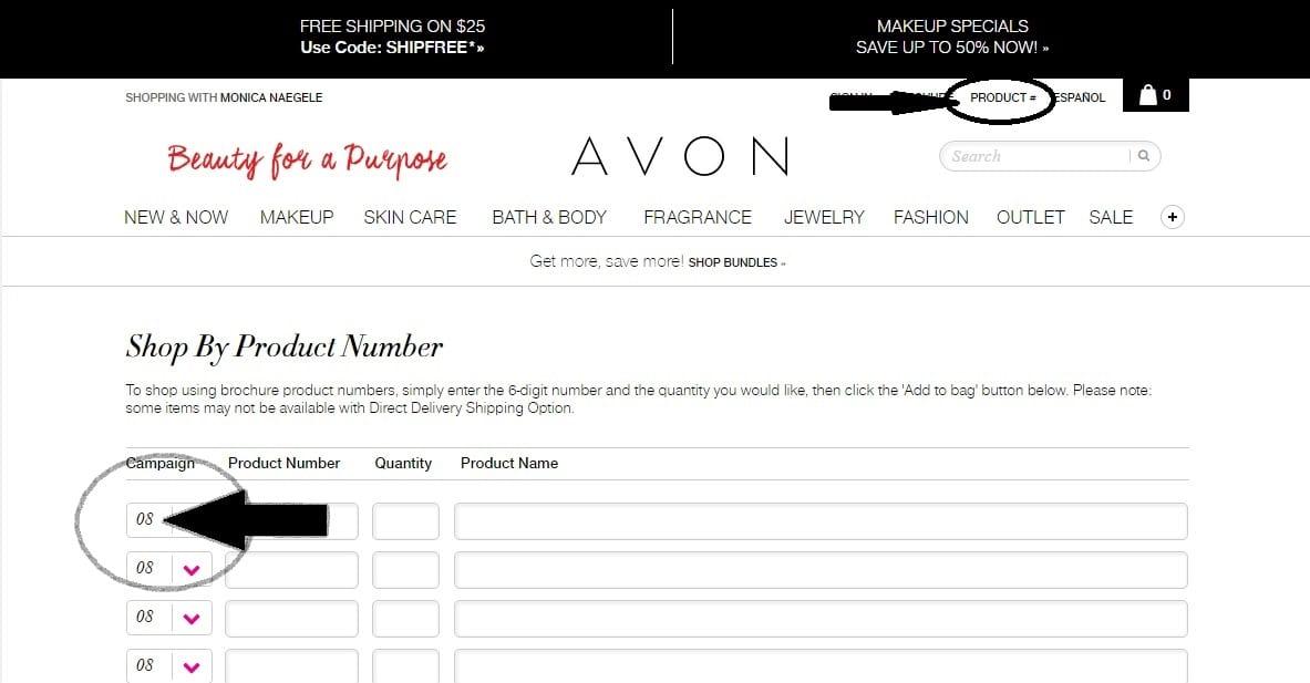 placing avon orders online